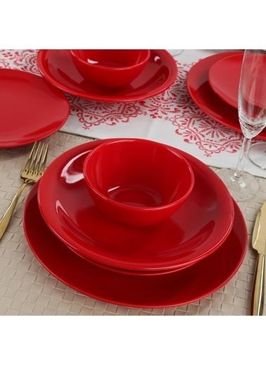 Keramika Keramika Ege Kırmızı Yemek Takımı 24 Parça 6 Kişilik Renkli
